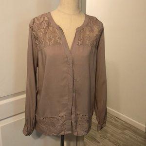 Mauve button down blouse